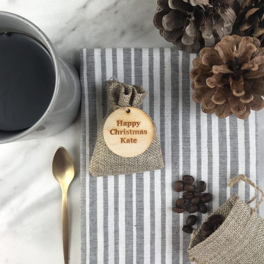 Personalised Christmas table coffee favours